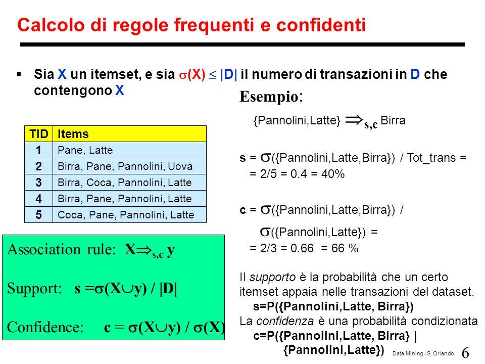 6 Data Mining - S. Orlando Calcolo di regole frequenti e confidenti  Sia X un itemset, e sia  (X)  |D| il numero di transazioni in D che contengono