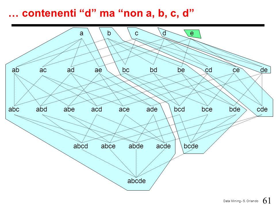 """61 Data Mining - S. Orlando abcdeabcde abacadaebcbdbecdcede abcabdabeacdaceadebcdbcebdecde abcdabceabdeacdebcde abcde … contenenti """"d"""" ma """"non a, b, c"""