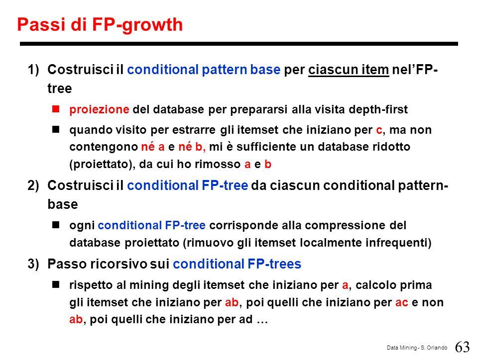 63 Data Mining - S. Orlando Passi di FP-growth 1)Costruisci il conditional pattern base per ciascun item nel'FP- tree proiezione del database per prep