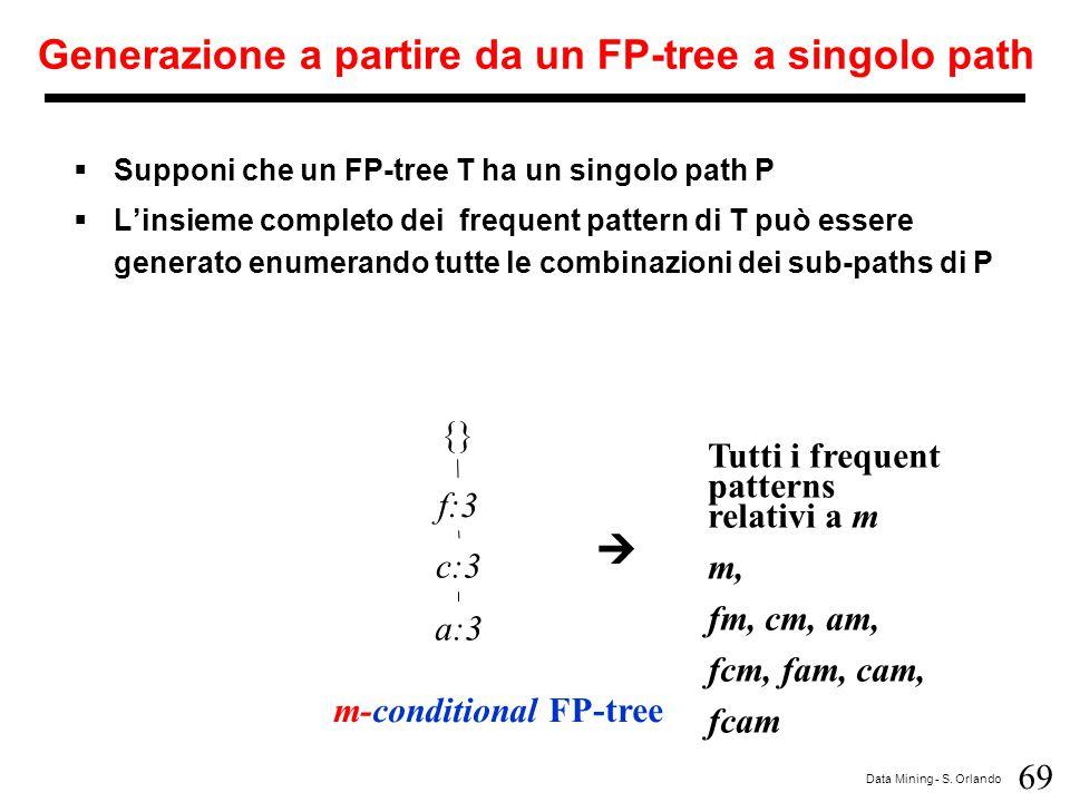 69 Data Mining - S. Orlando Generazione a partire da un FP-tree a singolo path  Supponi che un FP-tree T ha un singolo path P  L'insieme completo de