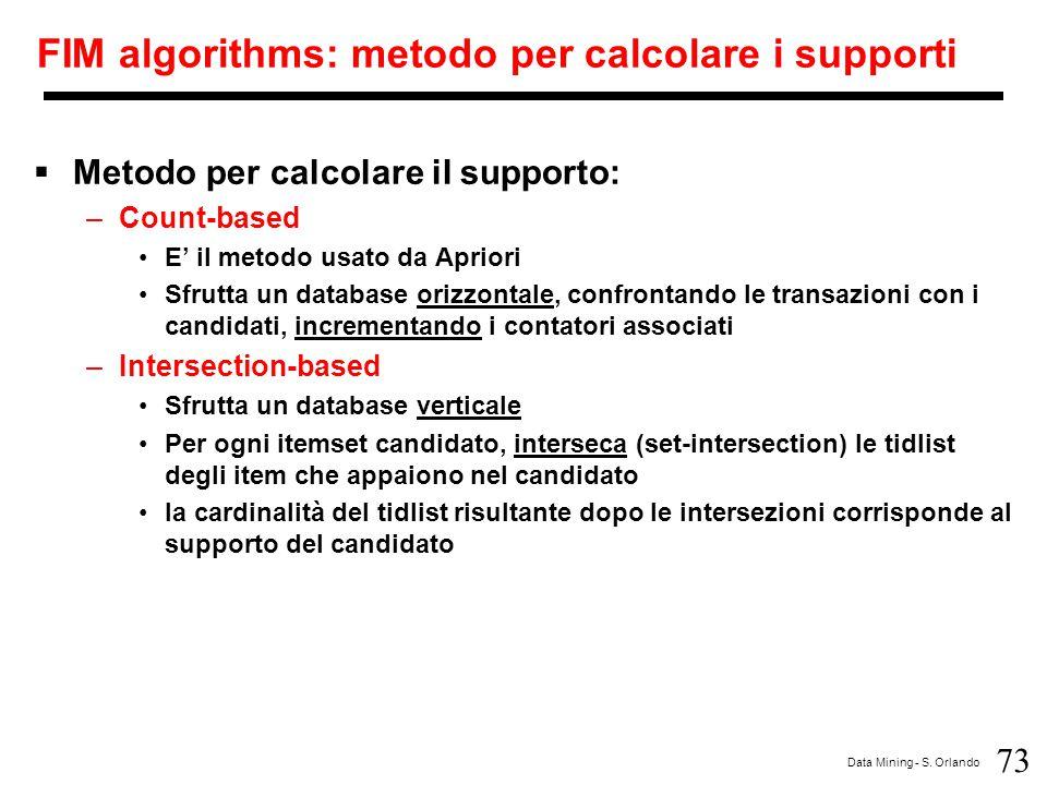 73 Data Mining - S. Orlando FIM algorithms: metodo per calcolare i supporti  Metodo per calcolare il supporto: –Count-based E' il metodo usato da Apr