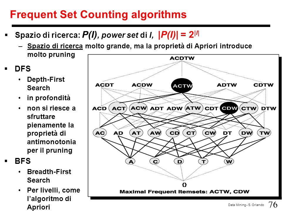 76 Data Mining - S. Orlando Frequent Set Counting algorithms  Spazio di ricerca: P(I), power set di I, |P(I)| = 2 |I| –Spazio di ricerca molto grande