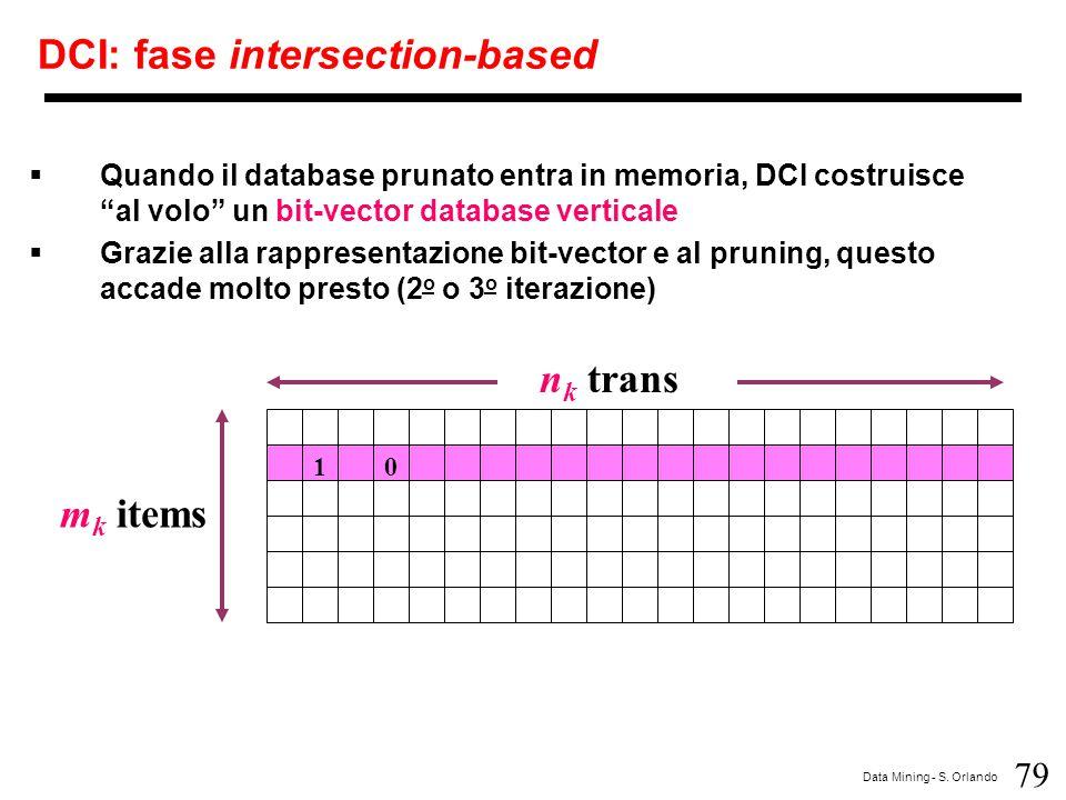 """79 Data Mining - S. Orlando DCI: fase intersection-based n k trans m k items 10  Quando il database prunato entra in memoria, DCI costruisce """"al volo"""