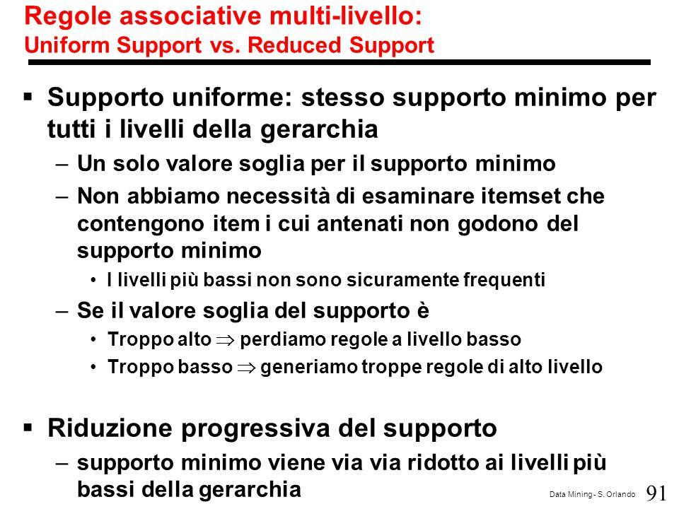91 Data Mining - S. Orlando Regole associative multi-livello: Uniform Support vs. Reduced Support  Supporto uniforme: stesso supporto minimo per tutt