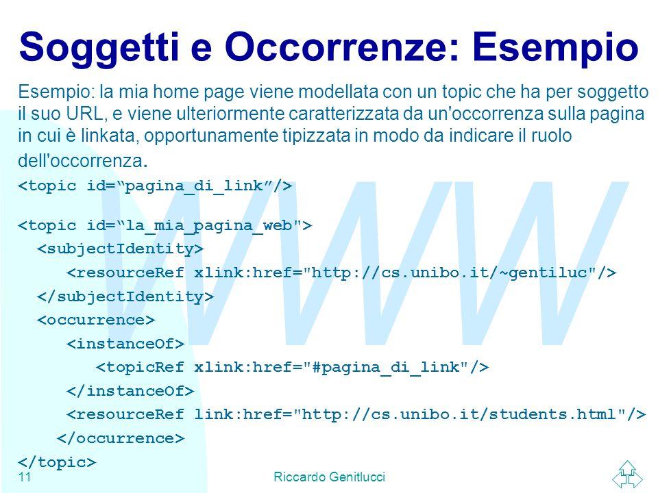 WWW Riccardo Genitlucci11 Soggetti e Occorrenze: Esempio Esempio: la mia home page viene modellata con un topic che ha per soggetto il suo URL, e viene ulteriormente caratterizzata da un occorrenza sulla pagina in cui è linkata, opportunamente tipizzata in modo da indicare il ruolo dell occorrenza.