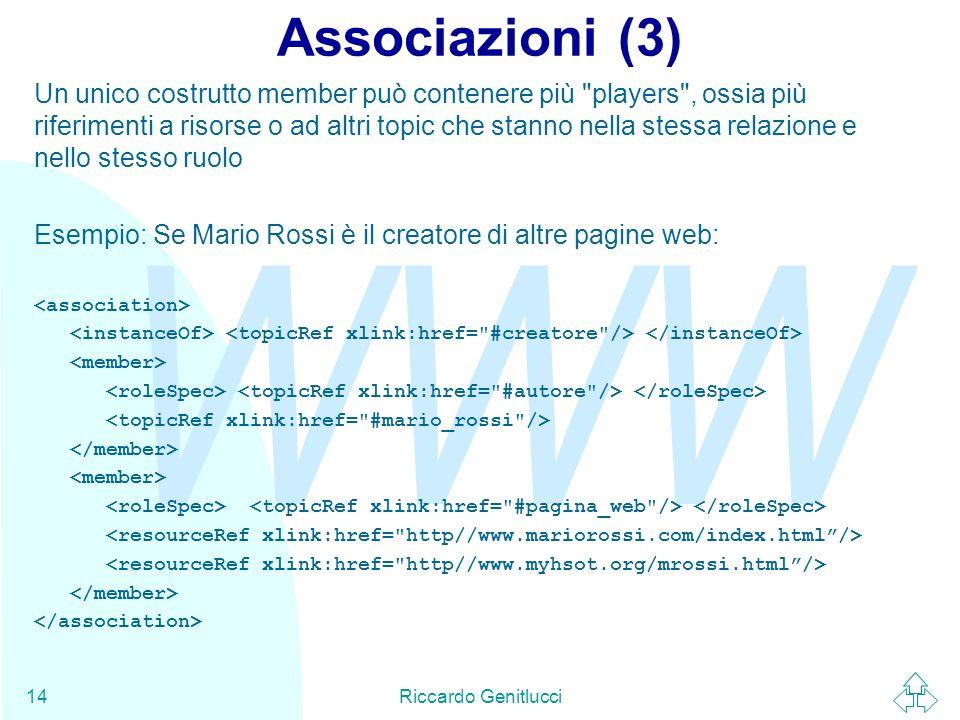 WWW Riccardo Genitlucci14 Associazioni (3) Un unico costrutto member può contenere più players , ossia più riferimenti a risorse o ad altri topic che stanno nella stessa relazione e nello stesso ruolo Esempio: Se Mario Rossi è il creatore di altre pagine web: