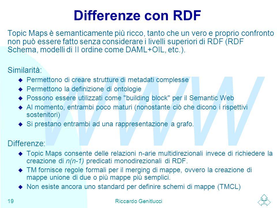 WWW Riccardo Genitlucci19 Differenze con RDF Topic Maps è semanticamente più ricco, tanto che un vero e proprio confronto non può essere fatto senza considerare i livelli superiori di RDF (RDF Schema, modelli di II ordine come DAML+OIL, etc.).