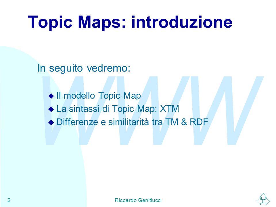 WWW Riccardo Genitlucci13 Associazioni (2) Anche le associazioni sono soggette a tipizzazione per evidenziare il tipo di relazione che sussiste fra i membri.