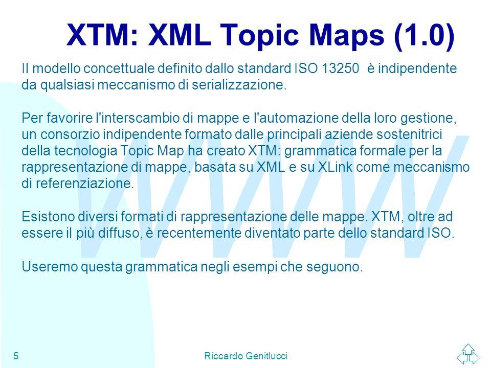 WWW Riccardo Genitlucci16 t1t2t3t4 tt1 tt3 tt2 Topic Tipizzanti Associazioni Topic Occorrenze Soggetti Risorse at2at1 ot Nome Gerarchia dei concetti di TM