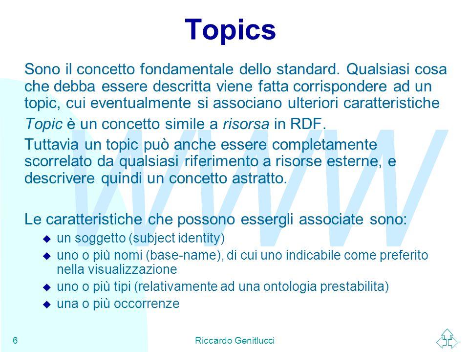 WWW Riccardo Genitlucci6 Topics Sono il concetto fondamentale dello standard.