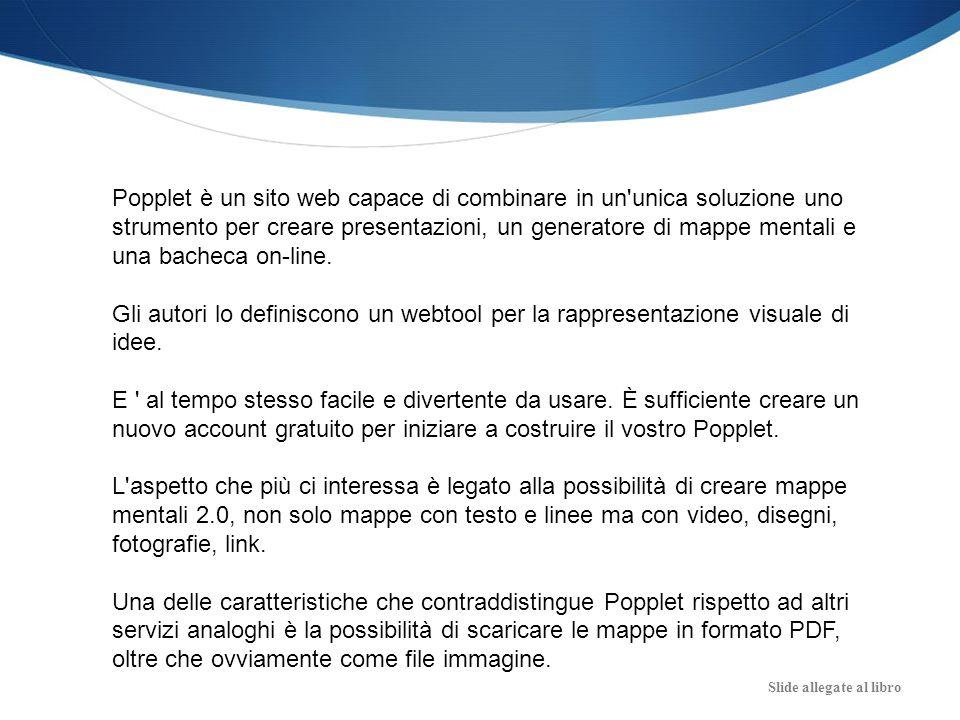 Slide allegate al libro Popplet è un sito web capace di combinare in un'unica soluzione uno strumento per creare presentazioni, un generatore di mappe