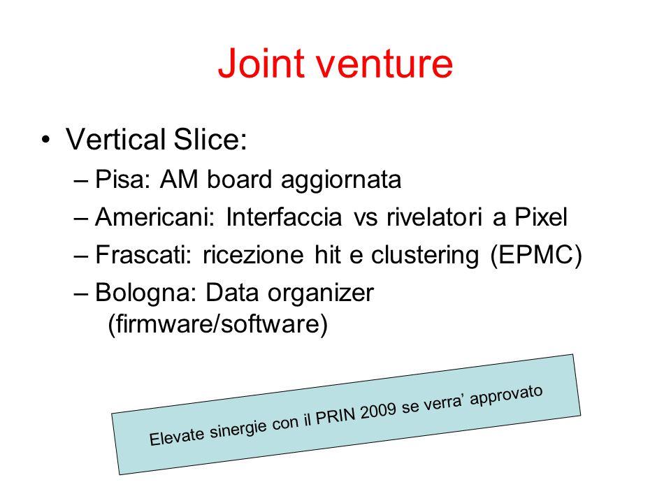 Joint venture Vertical Slice: –Pisa: AM board aggiornata –Americani: Interfaccia vs rivelatori a Pixel –Frascati: ricezione hit e clustering (EPMC) –Bologna: Data organizer (firmware/software) Elevate sinergie con il PRIN 2009 se verra' approvato
