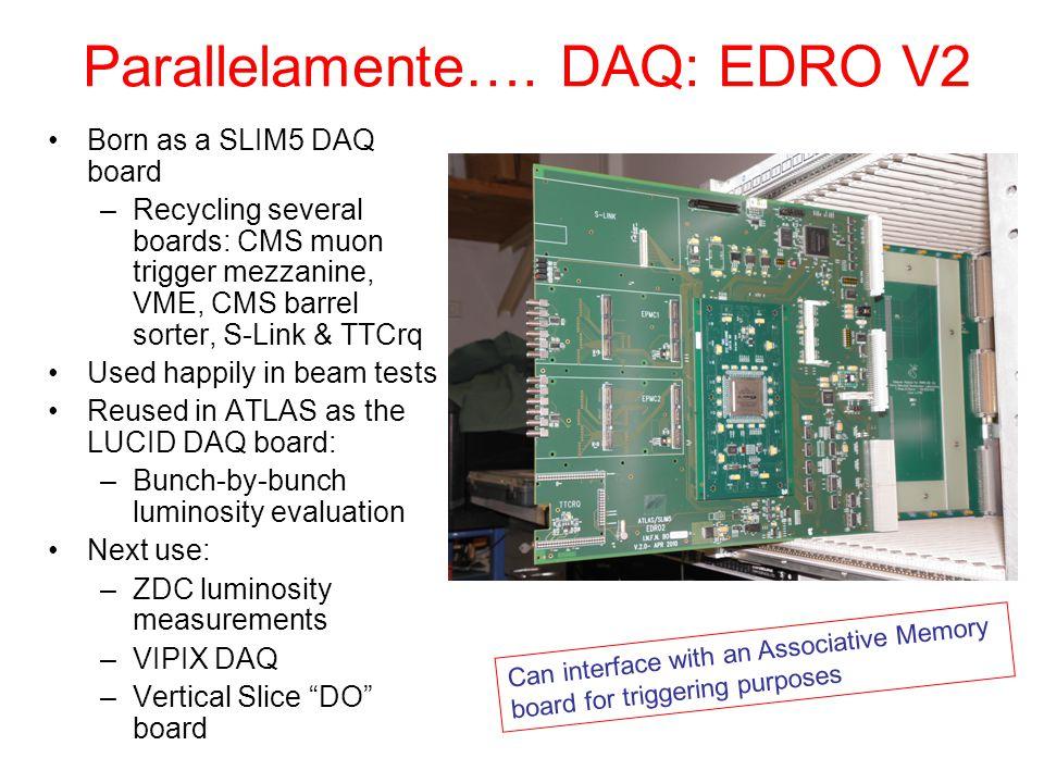 VIPIX DAQ duties Obbiettivo principale: Test beam settembre 2011 Installare in gennaio-giugno tutta l'infrastruttura di beam test a Bologna: –4 piani strip; 4 scintillatori; –2 maps digitali (Apsel-like) + 1 analogico –1-4 MAPS Perugine (RAPS) –1 chip MIMOROMA3