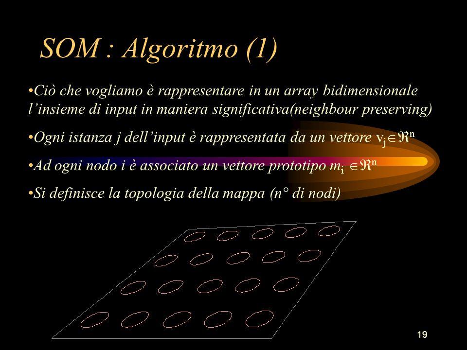 19 SOM : Algoritmo (1) Ciò che vogliamo è rappresentare in un array bidimensionale l'insieme di input in maniera significativa(neighbour preserving) Ogni istanza j dell'input è rappresentata da un vettore v j  n Ad ogni nodo i è associato un vettore prototipo m i  n Si definisce la topologia della mappa (n° di nodi)