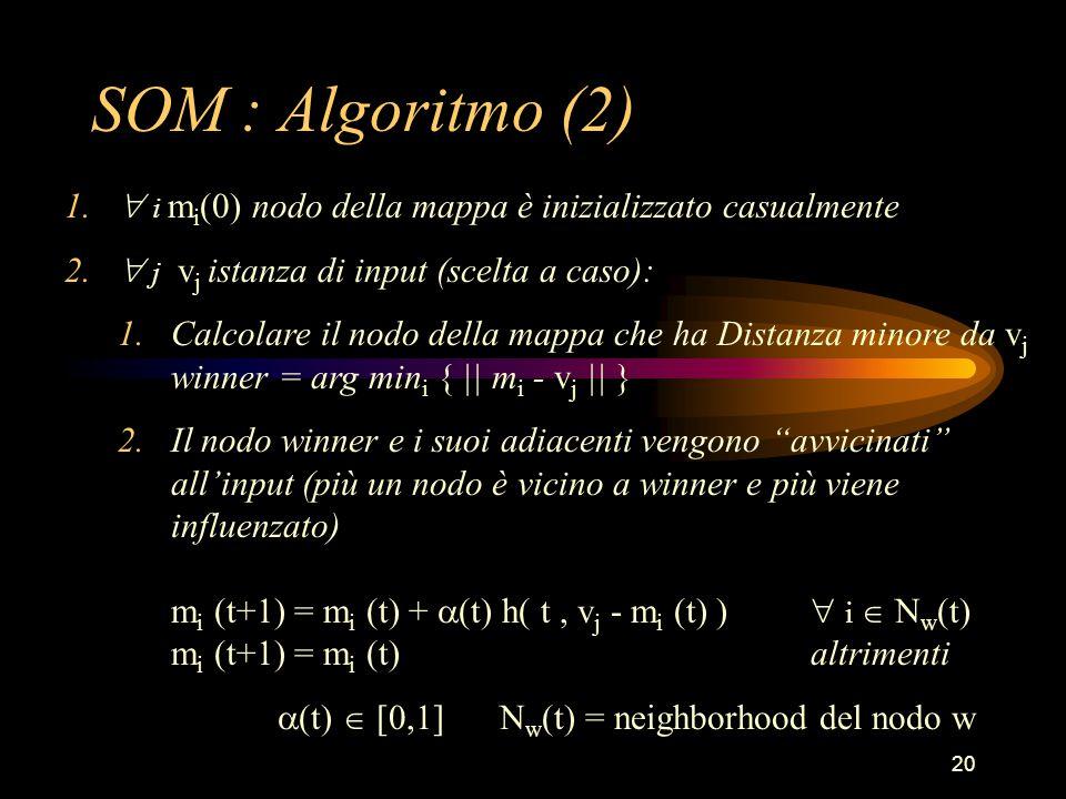 20 SOM : Algoritmo (2) 1.  i m i (0) nodo della mappa è inizializzato casualmente 2.