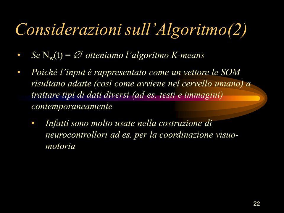 22 Considerazioni sull'Algoritmo(2) Se N w (t) =  otteniamo l'algoritmo K-means Poichè l'input è rappresentato come un vettore le SOM risultano adatte (così come avviene nel cervello umano) a trattare tipi di dati diversi (ad es.