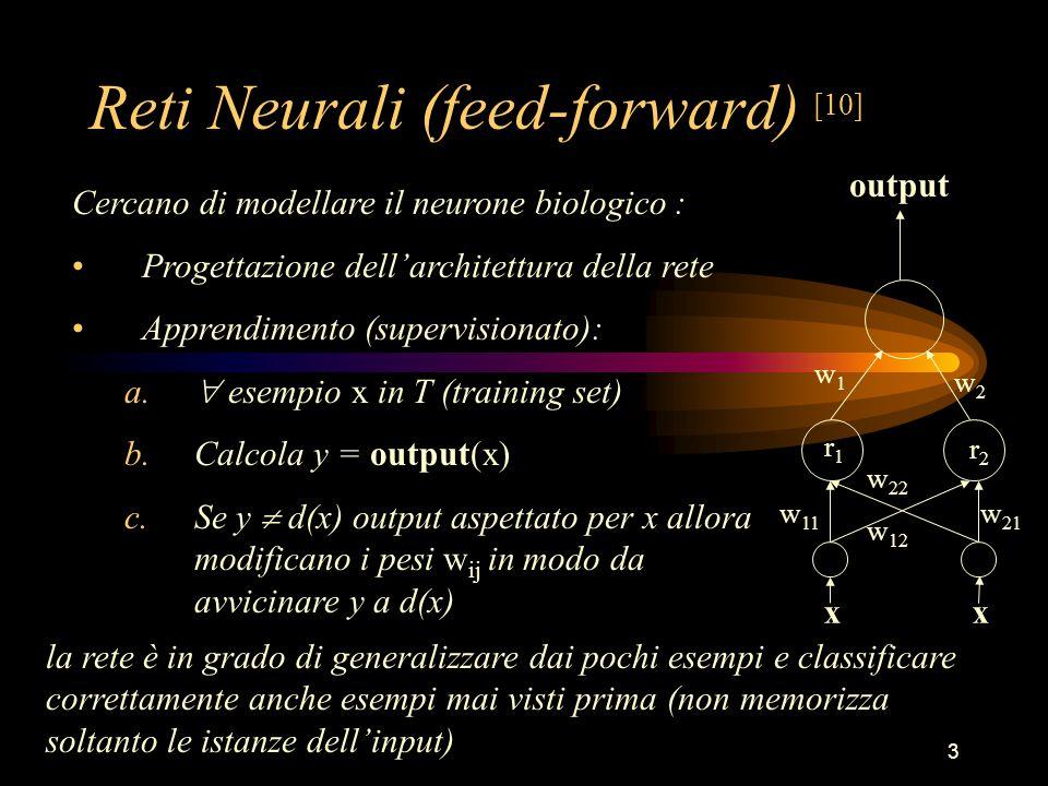 3 Reti Neurali (feed-forward) [10] Cercano di modellare il neurone biologico : Progettazione dell'architettura della rete Apprendimento (supervisionato): a.