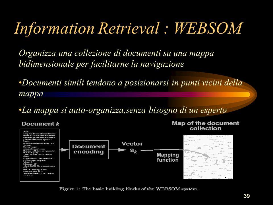 39 Information Retrieval : WEBSOM Organizza una collezione di documenti su una mappa bidimensionale per facilitarne la navigazione Documenti simili tendono a posizionarsi in punti vicini della mappa La mappa si auto-organizza,senza bisogno di un esperto