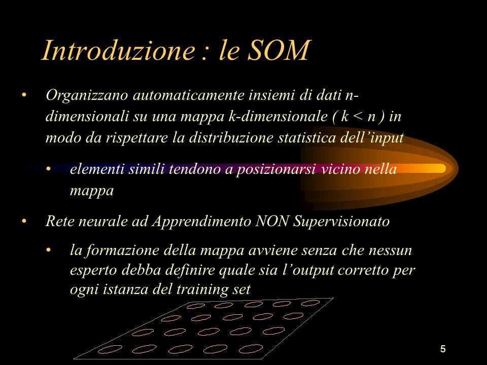 46 Analisi delle Fasi dell'Algoritmo Due tipi di Websom : Unsupervised : la mappa dei documenti viene organizzata usando l'algoritmo SOM usuale Supervised : ad ogni input della SOM si associa un'ulteriore informazione : a quale classe dovrebbe appartenere