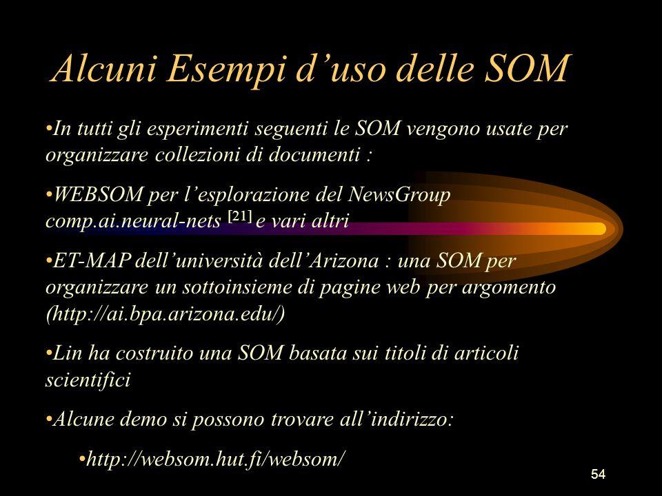 54 Alcuni Esempi d'uso delle SOM In tutti gli esperimenti seguenti le SOM vengono usate per organizzare collezioni di documenti : WEBSOM per l'esplorazione del NewsGroup comp.ai.neural-nets [21] e vari altri ET-MAP dell'università dell'Arizona : una SOM per organizzare un sottoinsieme di pagine web per argomento (http://ai.bpa.arizona.edu/) Lin ha costruito una SOM basata sui titoli di articoli scientifici Alcune demo si possono trovare all'indirizzo: http://websom.hut.fi/websom/