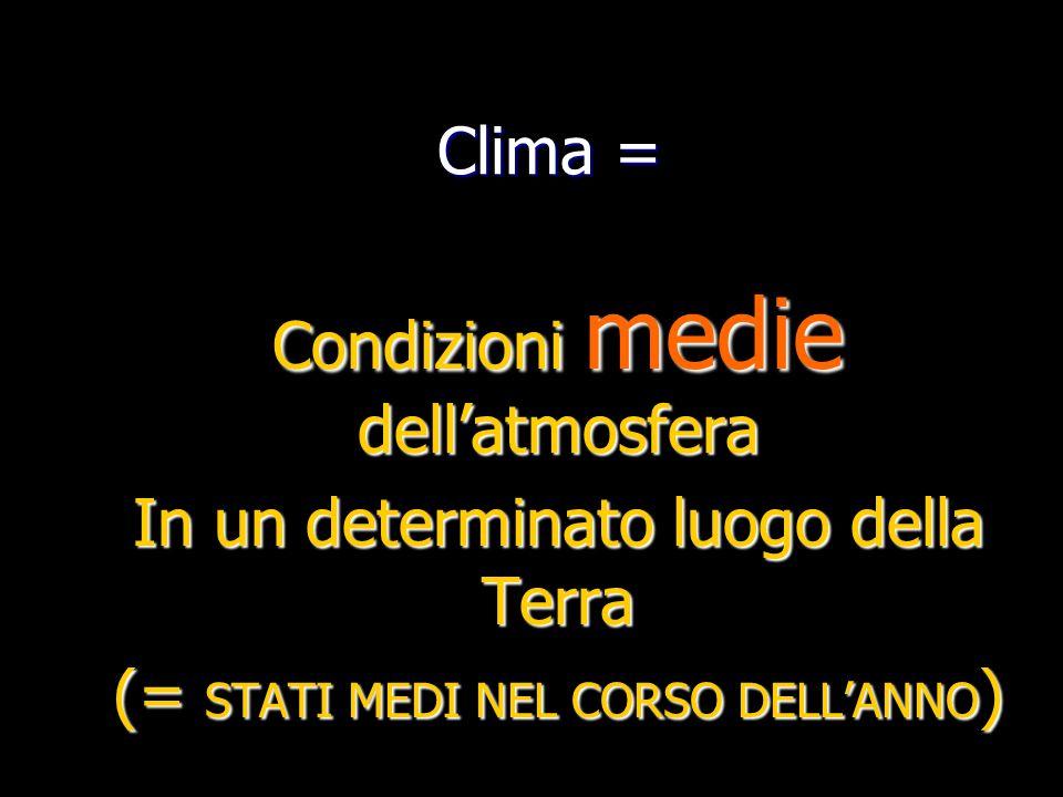 Clima = Condizioni medie dell'atmosfera In un determinato luogo della Terra (= STATI MEDI NEL CORSO DELL'ANNO )