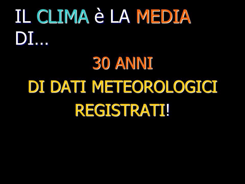 IL CLIMA è LA MEDIA DI… 30 ANNI DI DATI METEOROLOGICI REGISTRATI!