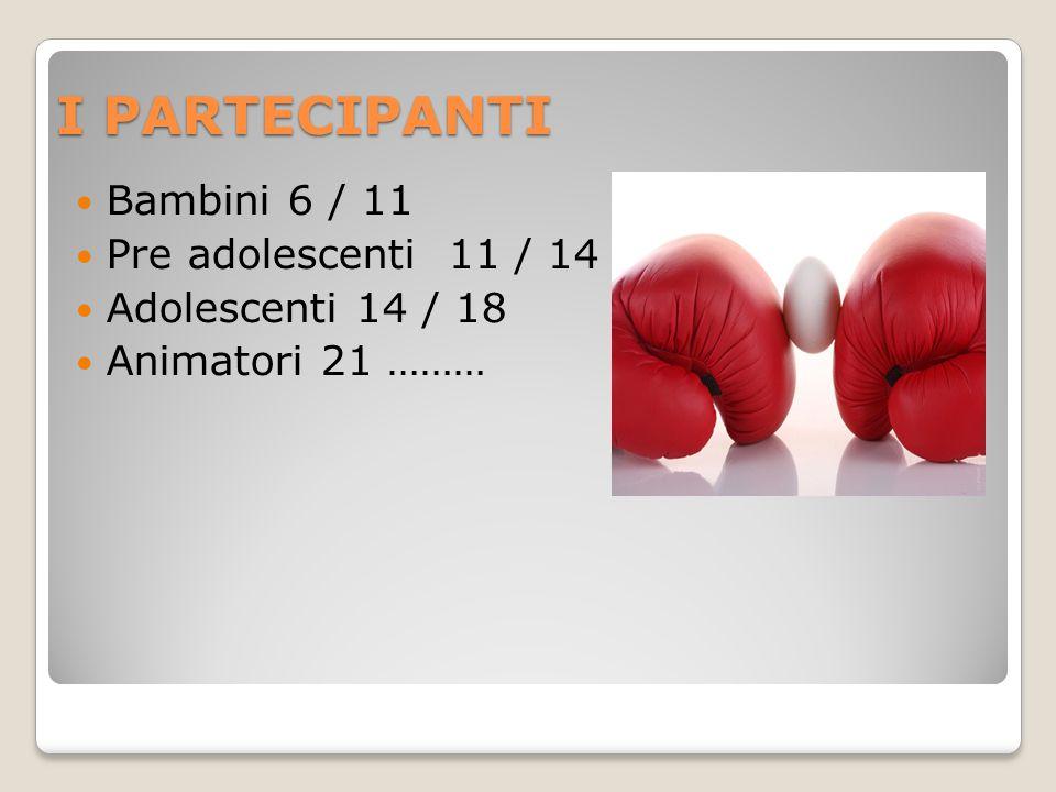 I PARTECIPANTI Bambini 6 / 11 Pre adolescenti 11 / 14 Adolescenti 14 / 18 Animatori 21 ………