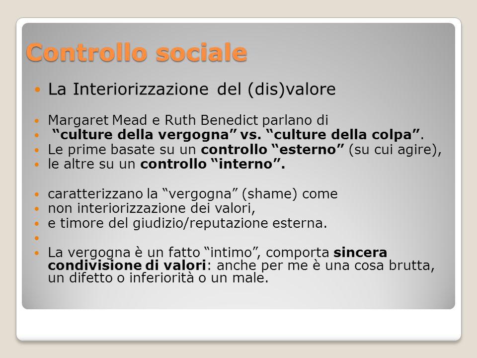 Controllo sociale La Interiorizzazione del (dis)valore Margaret Mead e Ruth Benedict parlano di culture della vergogna vs.