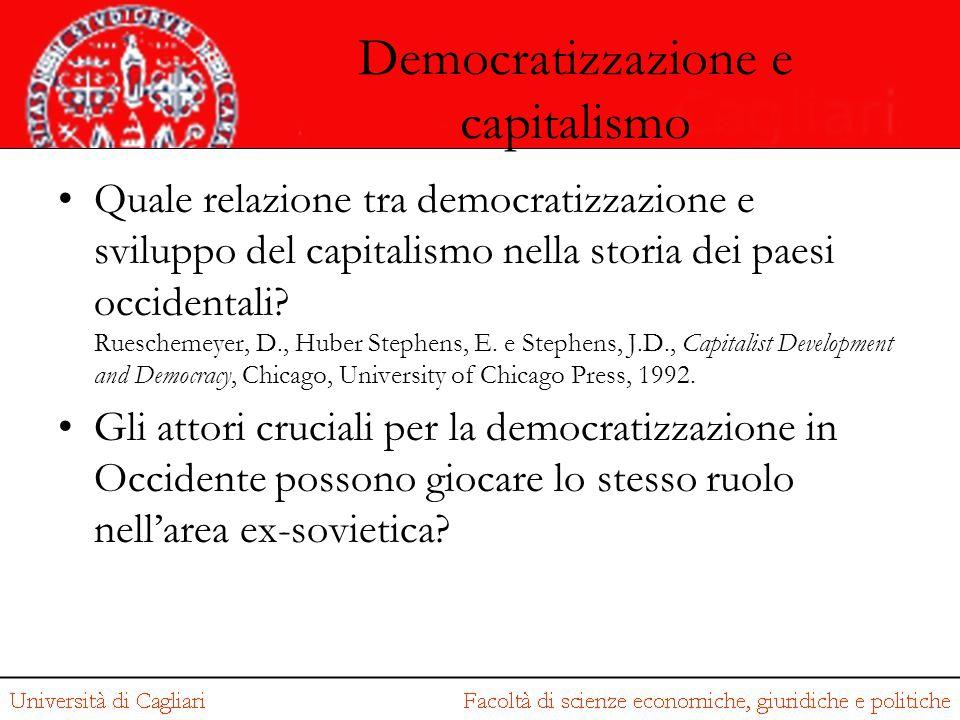 Democratizzazione e capitalismo Quale relazione tra democratizzazione e sviluppo del capitalismo nella storia dei paesi occidentali? Rueschemeyer, D.,