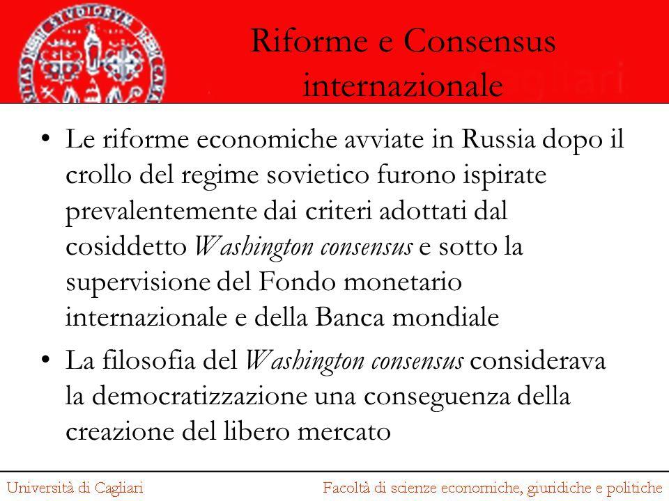 Riforme e Consensus internazionale Le riforme economiche avviate in Russia dopo il crollo del regime sovietico furono ispirate prevalentemente dai cri