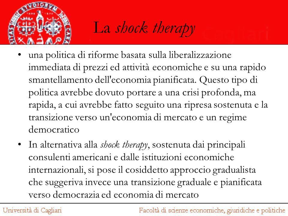 La shock therapy una politica di riforme basata sulla liberalizzazione immediata di prezzi ed attività economiche e su una rapido smantellamento dell'