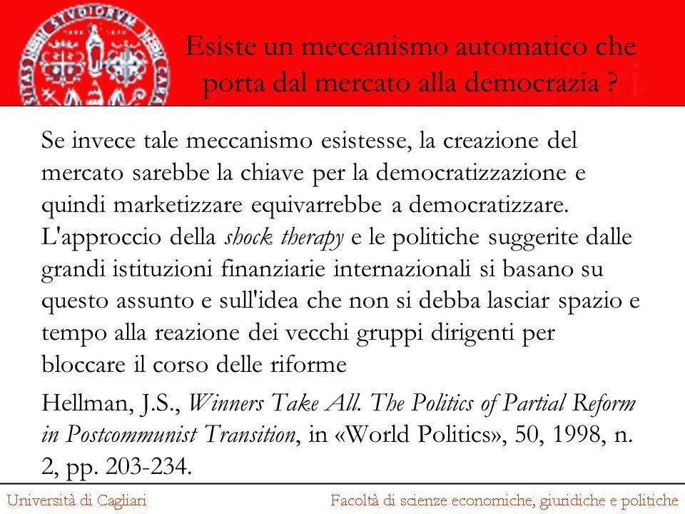 Esiste un meccanismo automatico che porta dal mercato alla democrazia ? Se invece tale meccanismo esistesse, la creazione del mercato sarebbe la chiav