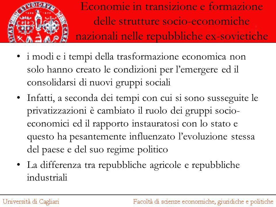 Economie in transizione e formazione delle strutture socio-economiche nazionali nelle repubbliche ex-sovietiche i modi e i tempi della trasformazione
