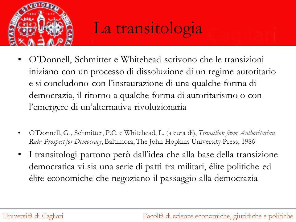 La transitologia O'Donnell, Schmitter e Whitehead scrivono che le transizioni iniziano con un processo di dissoluzione di un regime autoritario e si c
