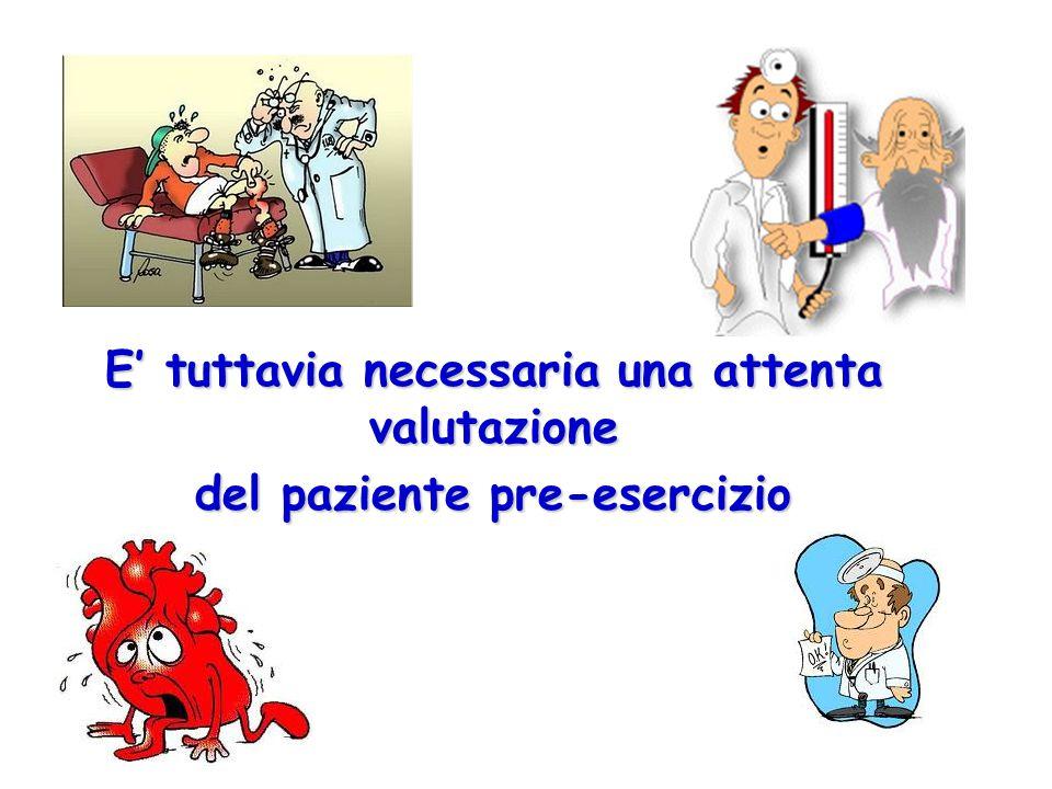 E' tuttavia necessaria una attenta valutazione del paziente pre-esercizio