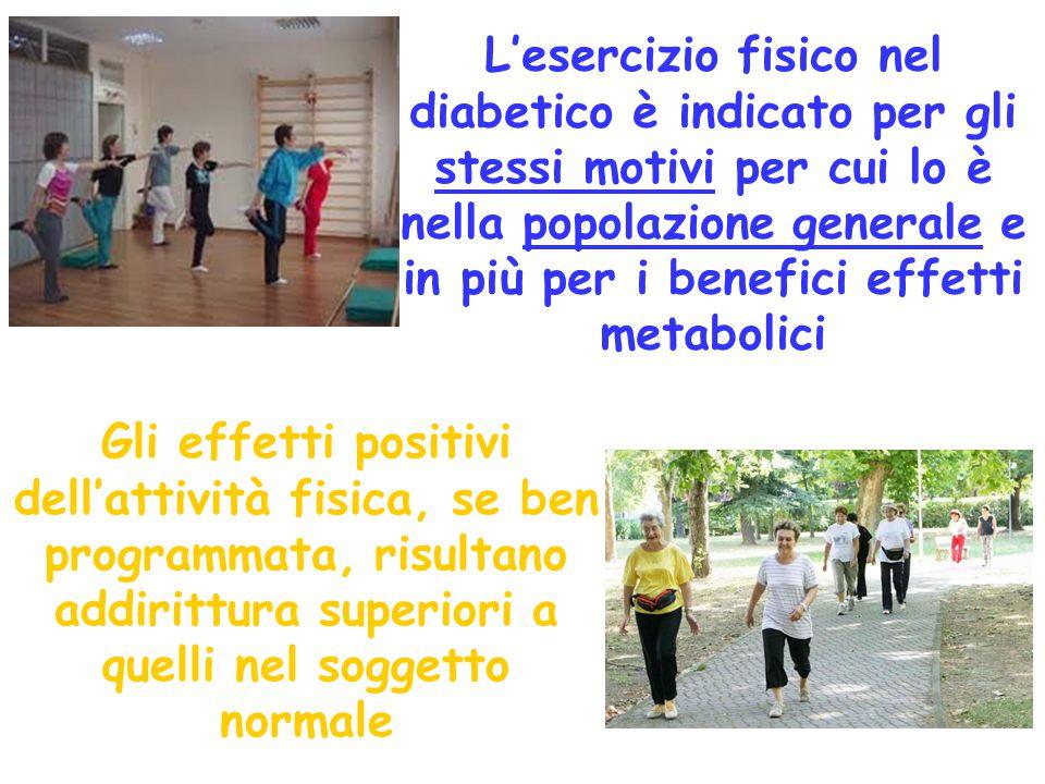 L'esercizio fisico nel diabetico è indicato per gli stessi motivi per cui lo è nella popolazione generale e in più per i benefici effetti metabolici G