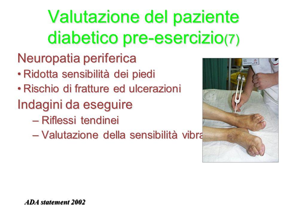 Valutazione del paziente diabetico pre-esercizio (7) Neuropatia periferica Ridotta sensibilità dei piediRidotta sensibilità dei piedi Rischio di fratt