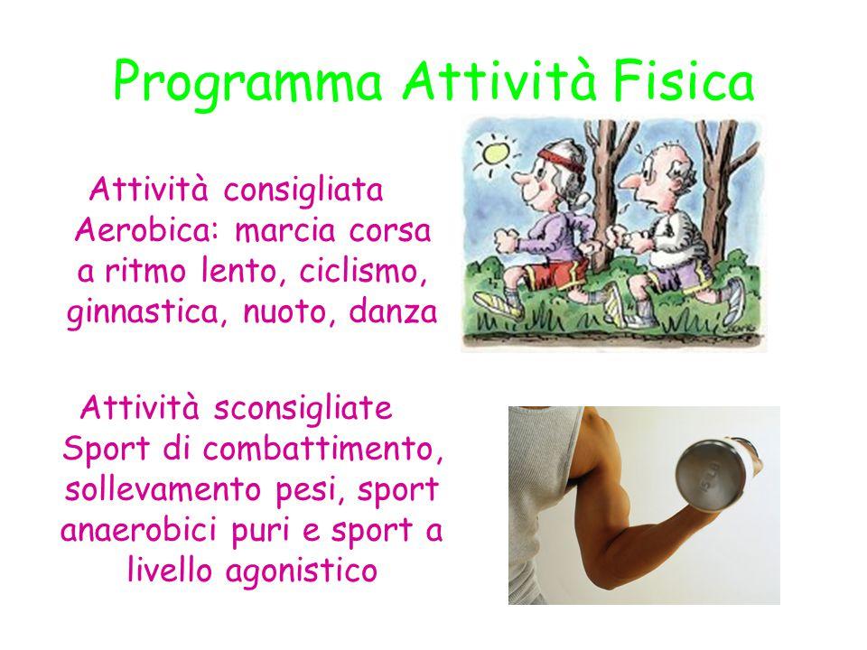 Programma Attività Fisica Attività consigliata Aerobica: marcia corsa a ritmo lento, ciclismo, ginnastica, nuoto, danza Attività sconsigliate Sport di
