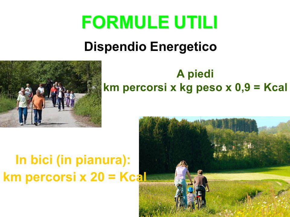 FORMULE UTILI Dispendio Energetico A piedi km percorsi x kg peso x 0,9 = Kcal In bici (in pianura): km percorsi x 20 = Kcal