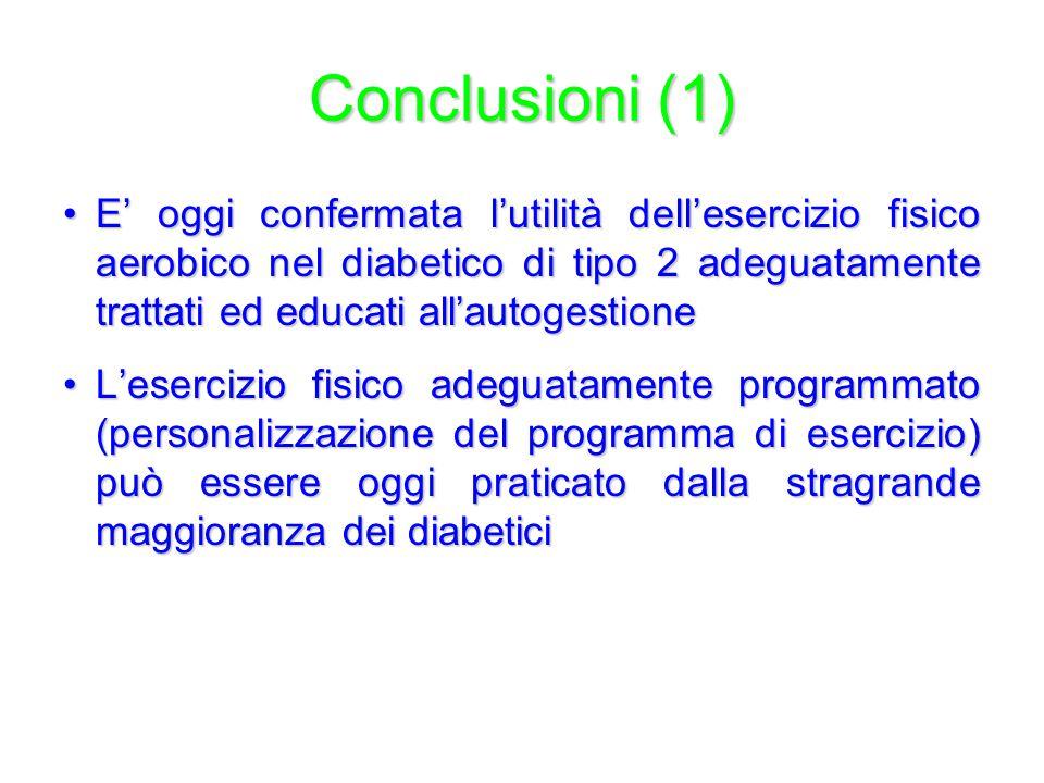 Conclusioni (1) E' oggi confermata l'utilità dell'esercizio fisico aerobico nel diabetico di tipo 2 adeguatamente trattati ed educati all'autogestione