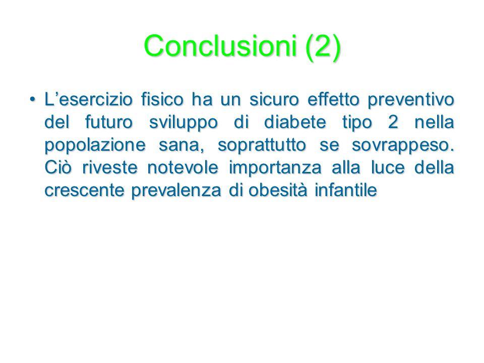 Conclusioni (2) L'esercizio fisico ha un sicuro effetto preventivo del futuro sviluppo di diabete tipo 2 nella popolazione sana, soprattutto se sovrap