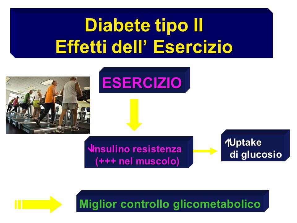 Diabete tipo II Effetti dell' Esercizio ESERCIZIO  Insulino resistenza (+++ nel muscolo) (+++ nel muscolo) Miglior controllo glicometabolico  Uptake