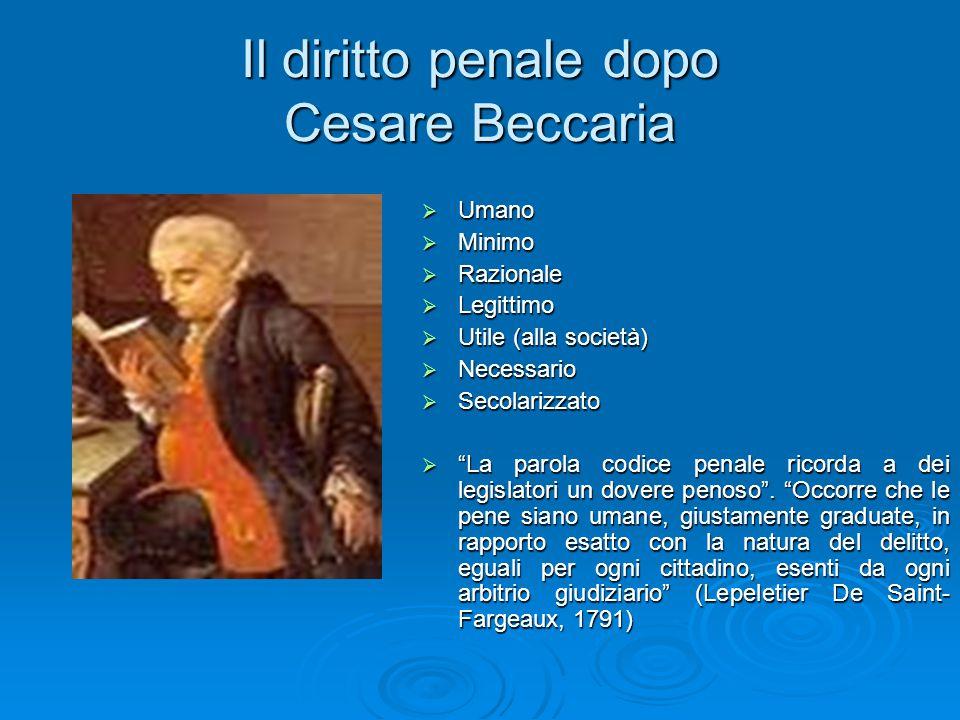 """Il diritto penale dopo Cesare Beccaria  Umano  Minimo  Razionale  Legittimo  Utile (alla società)  Necessario  Secolarizzato  """"La parola codic"""