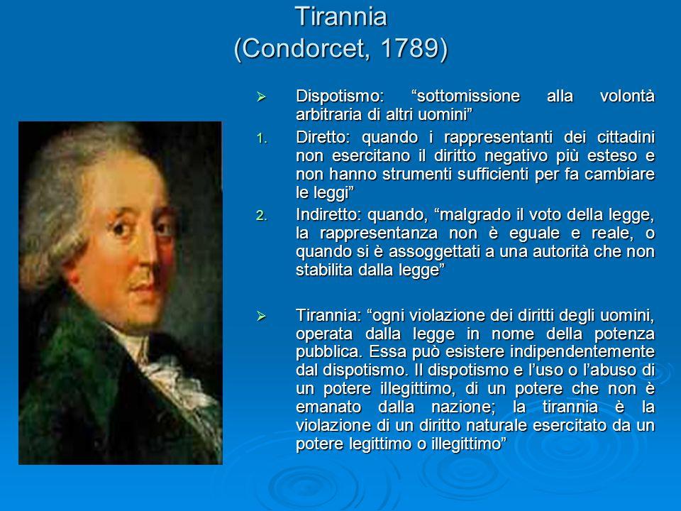 """Tirannia (Condorcet, 1789)  Dispotismo: """"sottomissione alla volontà arbitraria di altri uomini"""" 1. Diretto: quando i rappresentanti dei cittadini non"""