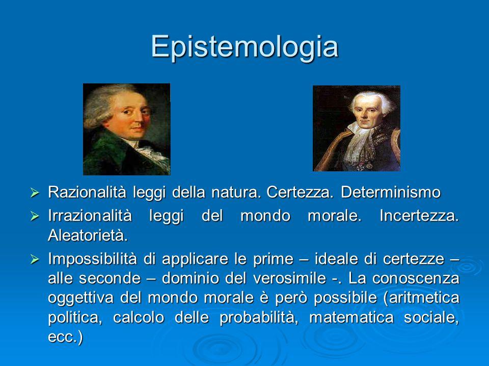 Epistemologia  Razionalità leggi della natura. Certezza. Determinismo  Irrazionalità leggi del mondo morale. Incertezza. Aleatorietà.  Impossibilit