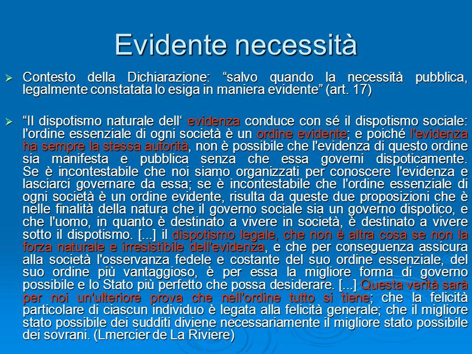 """Evidente necessità  Contesto della Dichiarazione: """"salvo quando la necessità pubblica, legalmente constatata lo esiga in maniera evidente"""" (art. 17)"""