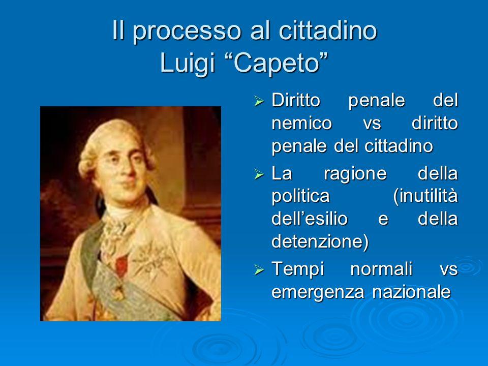 """Il processo al cittadino Luigi """"Capeto""""  Diritto penale del nemico vs diritto penale del cittadino  La ragione della politica (inutilità dell'esilio"""