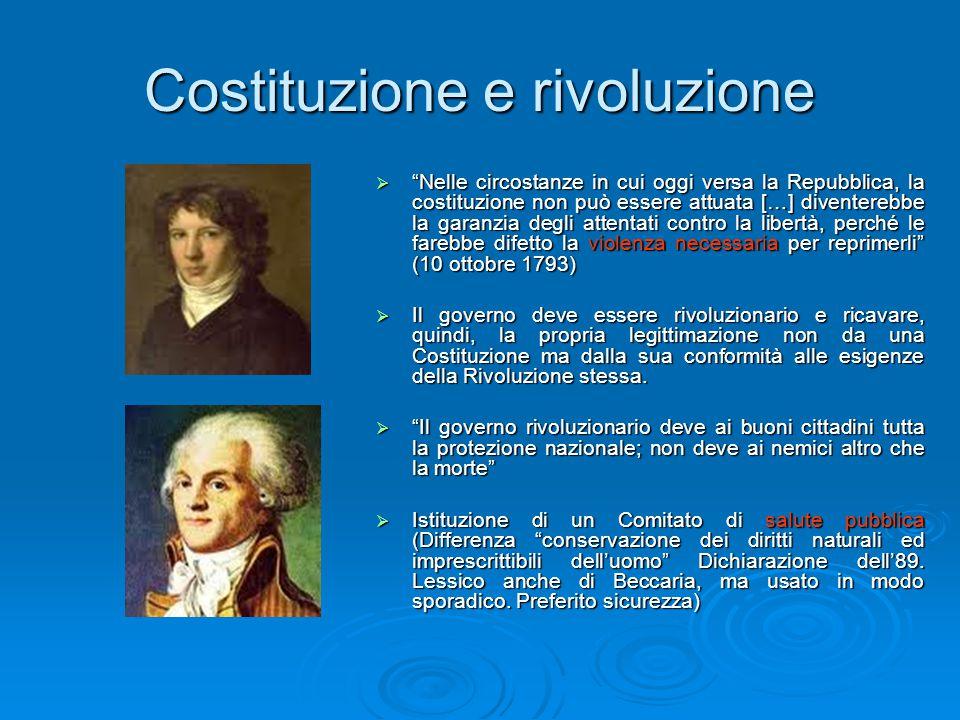"""Costituzione e rivoluzione  """"Nelle circostanze in cui oggi versa la Repubblica, la costituzione non può essere attuata […] diventerebbe la garanzia d"""