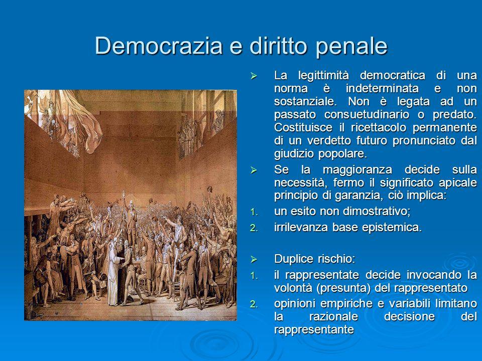 Democrazia e diritto penale  La legittimità democratica di una norma è indeterminata e non sostanziale. Non è legata ad un passato consuetudinario o