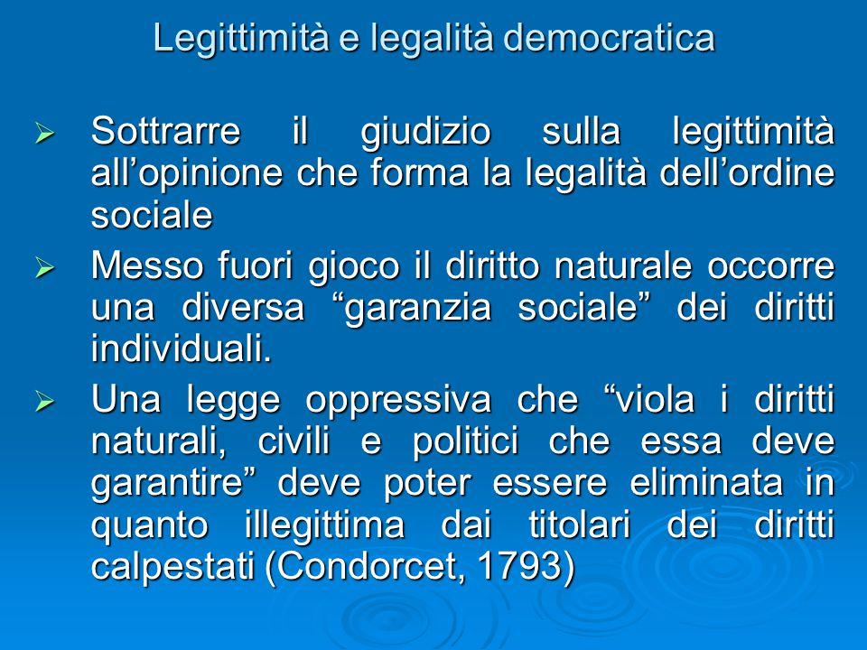 Legittimità e legalità democratica  Sottrarre il giudizio sulla legittimità all'opinione che forma la legalità dell'ordine sociale  Messo fuori gioco il diritto naturale occorre una diversa garanzia sociale dei diritti individuali.